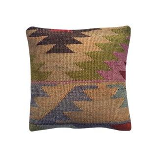 Vintage Multicolor Kilim Pillow Cover For Sale