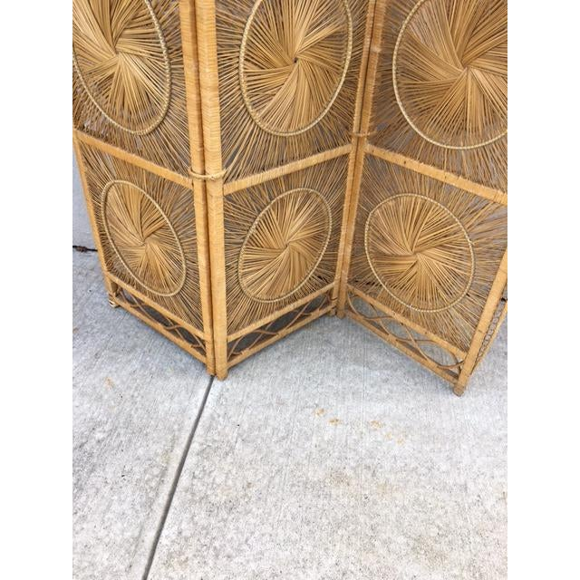 1960s Boho Chic Rattan Tri-Fold Screen For Sale - Image 5 of 6