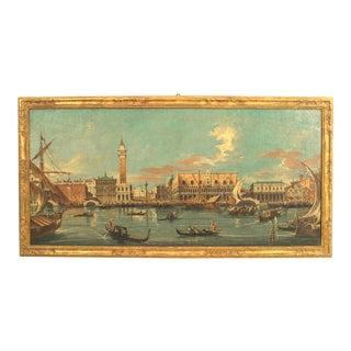Italian Neo-Classic Landscape of Venetian Canal For Sale