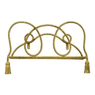 Vintage Italian Hollywood Regency Gold Rope Tassel Magazine Rack Wall Mount Iron B