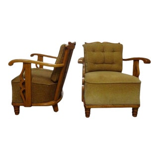 1940's French Guillerme Et Chambron Attributed Lounge Chairs in Sycamore - a Pair For Sale
