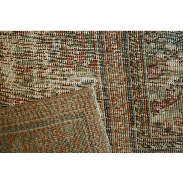 """Shabby Chic Vintage Distressed Fragment Mahal Carpet - 7'2"""" X 9'6"""" For Sale - Image 3 of 12"""