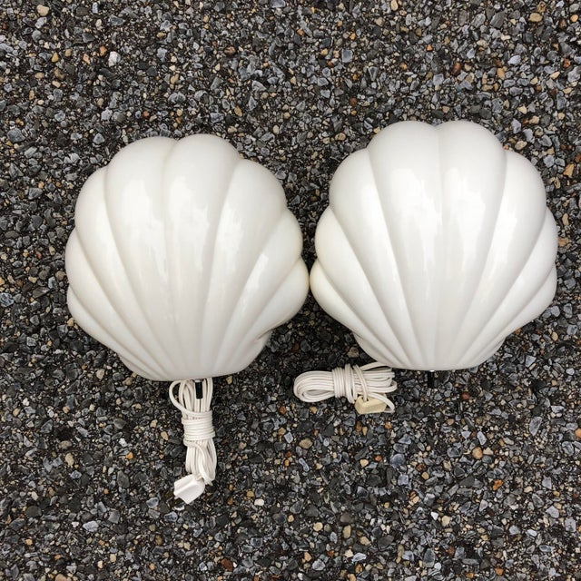 1970s Plastic Scalloped White Clam Shell Art Deco Wall Sconces - a Pair For Sale - Image 9 of 9