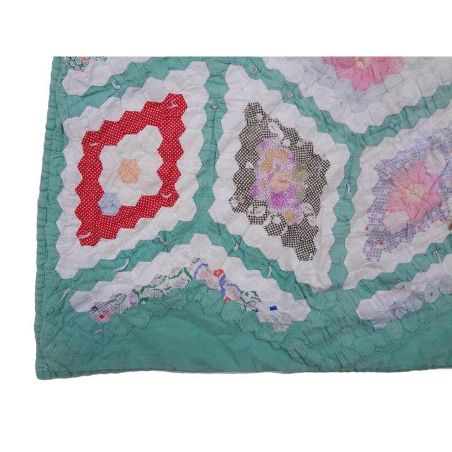 Grandmother's Flower Garden Hexagon Quilt C. 1943 For Sale - Image 7 of 10