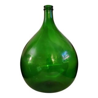 1950s Vintage European Emerald Green Glass Demijohn Bottle For Sale