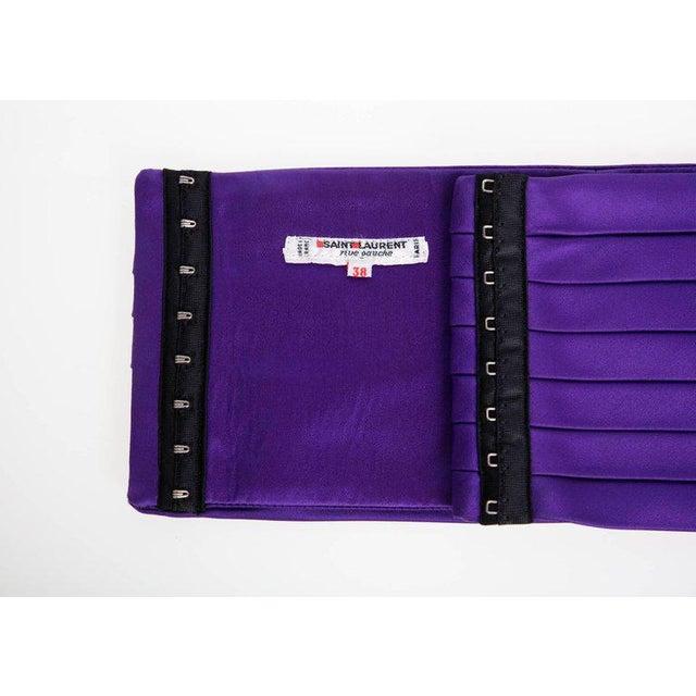 Yves Saint Laurent 1970s Yves Saint Laurent Purple Pleated Silk Wide Cummerbund Belt For Sale - Image 4 of 6