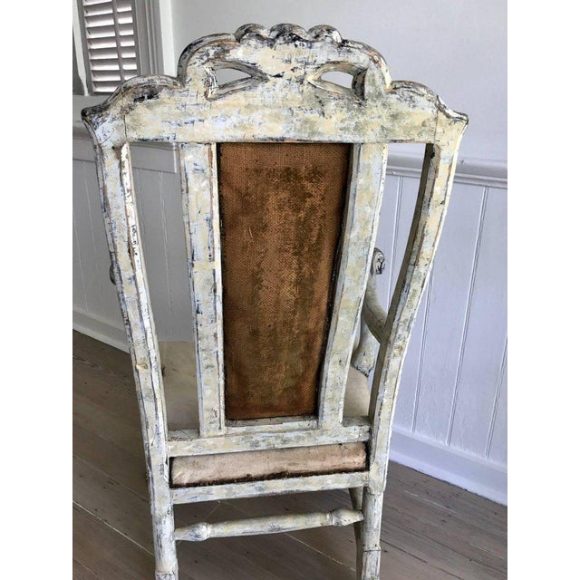 Swedish Baroque Armchair in Original Paint For Sale In New Orleans - Image 6 of 9