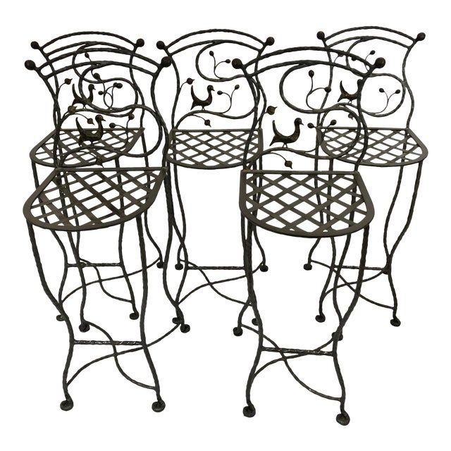 1980s Vintage Giacometti Style Whimsical Hand Forged Iron Counter Stools - Set of 5 For Sale