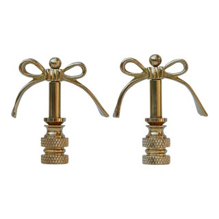 Brass Bow Lamp Finials - a Pair For Sale