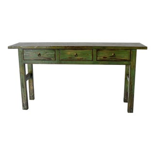 1990s Chinese Green Wooden Console Table