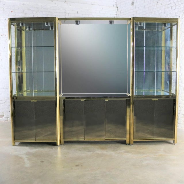Modern Triple Lighted Vitrine Or Display Cabinet In Brass Glasirror Style Of Ello For