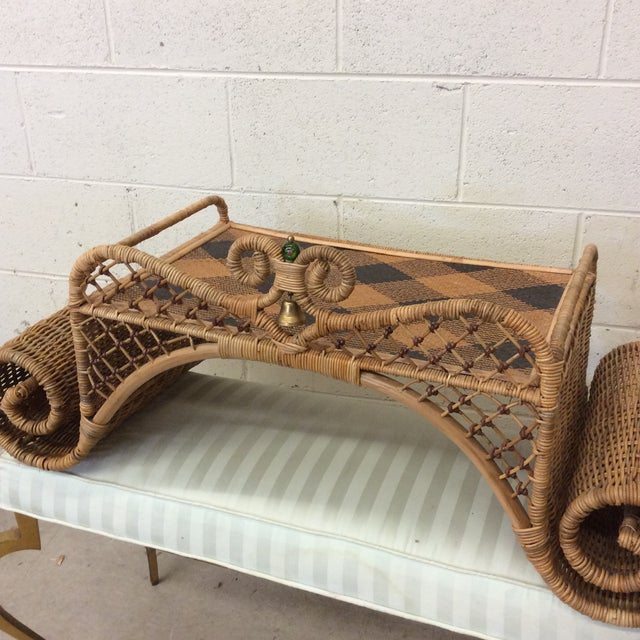 Retired MacKenzie Childs Ajiro Weave Wicker Rattan Scrolled Bed Tray For Sale - Image 9 of 11