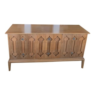 "Mid-Century Modern Low Walnut Credenza Cabinet Carved ""Spade"" Fruit For Sale"