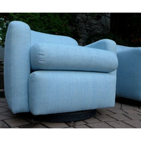 Pale Blue Mid-Century Barrel Lounge Chairs - Image 5 of 6