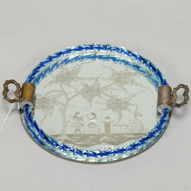 Italian Venetian Etched Mirrored Blue Rim Dresser Tray For Sale - Image 3 of 6