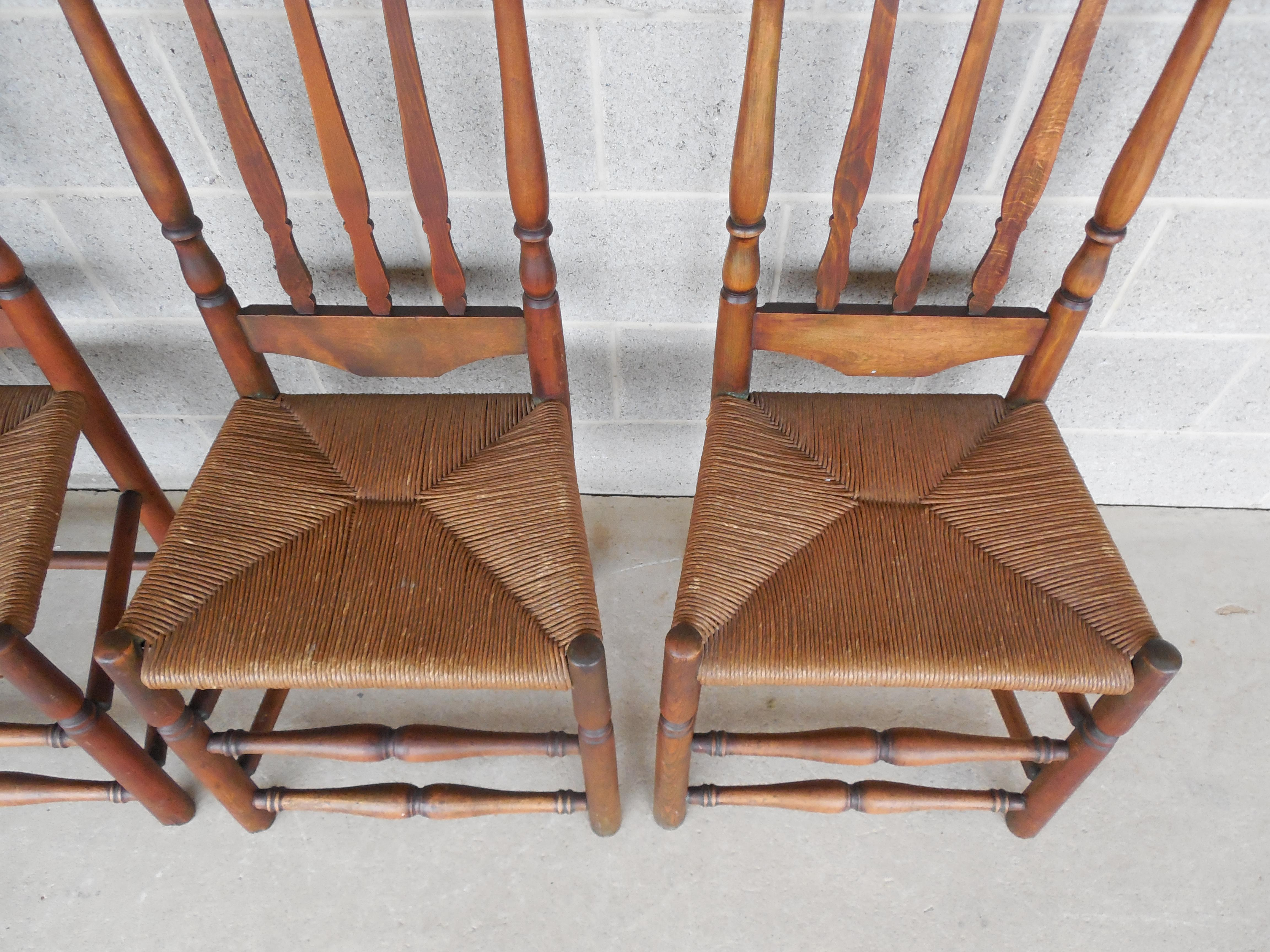 Charmant Set Of 6 Antique Turned Windsor Rush Bottom Chairs   Image 4 Of 12