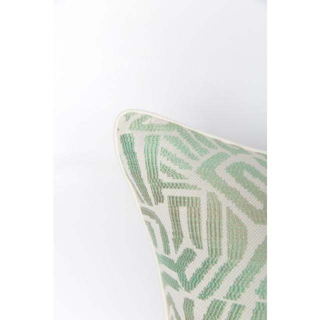 Pair of custom seafoam green and ivory tribal pattern pillows. Pattern on both sides with solid ivory linen cording....