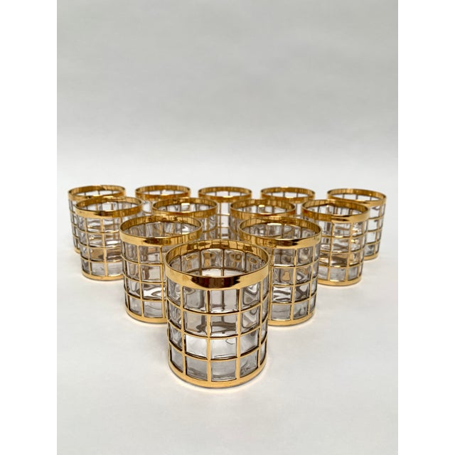 Set of 12 high quality vintage rocks glasses from Imperial Glass in the Toril De Oro pattern, ca. 1960s-70s. Glasses...
