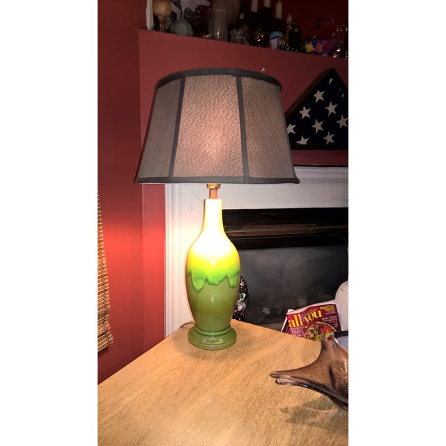 Mid-Century Green Glazed Pottery Table Lamp - Image 4 of 6