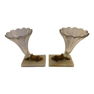 Cut Glass Marble and Bronze Cornucopia -A Pair For Sale