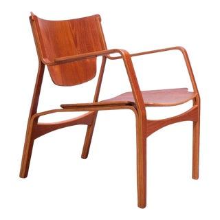 Danish Modern Teak Bentwood Sculptural Armchair For Sale