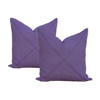 Transitional Deep Purple Linen Pillows - a Pair For Sale