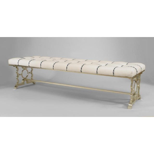 French 1940s Style Silver Painted Iron Bench For Sale - Image 4 of 4