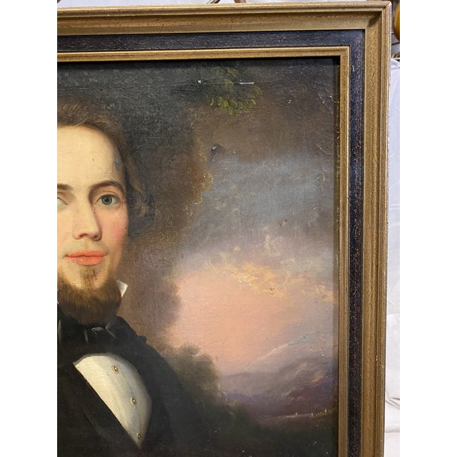 Antique Late 19th C. Oil on Board Framed Portrait of a Handsome Man For Sale - Image 4 of 8