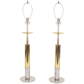 Gold and Nickel Parzinger Style Table Lamps For Sale