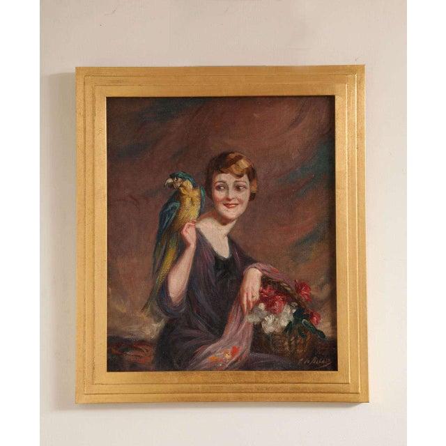 Art Deco Oil on Canvas by Pierre Mitiffiot De Bélair For Sale - Image 9 of 9