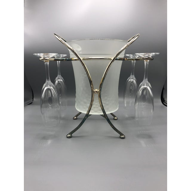 Hollywood Regency Mid-Century Glass & Chrome Caddy Ice Bucket With Champagne Glasses - 5 Pc. Set For Sale - Image 3 of 9