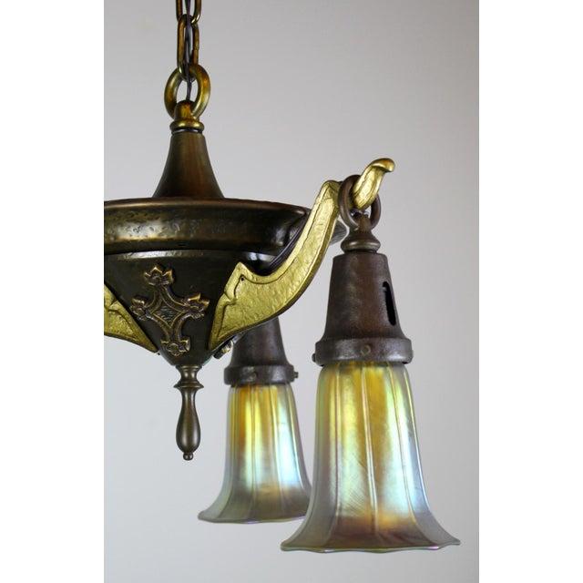 3 Light Arts & Crafts Style Iron Fixture. - Image 8 of 10