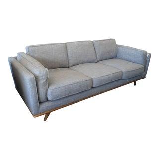 Pebble Gray Sofa with Honey Oak Base & Legs