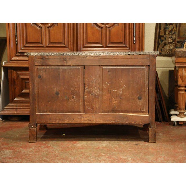 Bronze 19th Century French Empire Walnut Four-Drawer Commode With Black & White Marble For Sale - Image 7 of 8