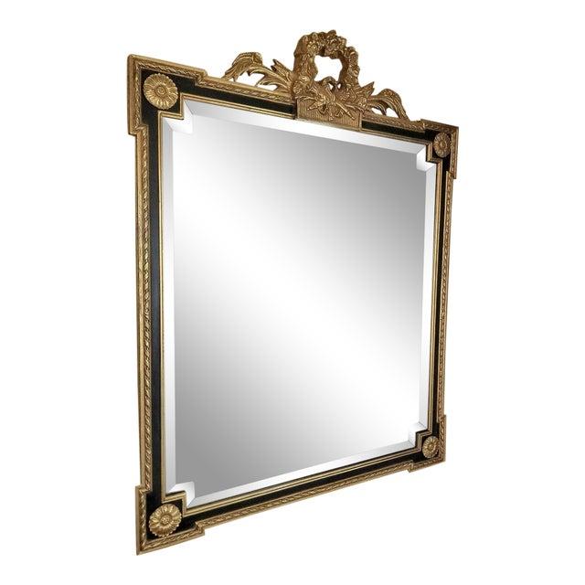 Louis XVI Style Giltwood & Ebony Beveled Glass Mirror For Sale