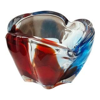 Vintage Mid Century Glass Art Ashtray For Sale
