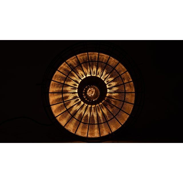 1920s Industrial Gold Mercury Glass Caged Ceiling Pendant Lamp For Sale In Chicago - Image 6 of 8