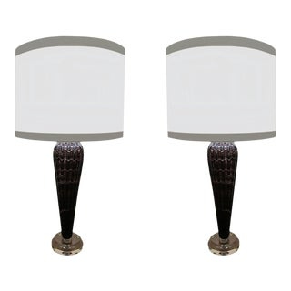 Mid 20th Century Smokey Bronze With Gold Swirls Murano Glass Lamps - a Pair For Sale