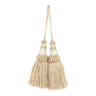 Champagne and White Key Tassels With Looped Ruche Trim - a Pair For Sale