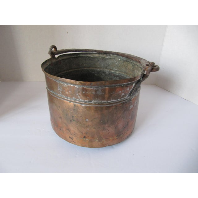 Copper Antique Handmade Copper Pot With Iron Handle For Sale - Image 8 of 8