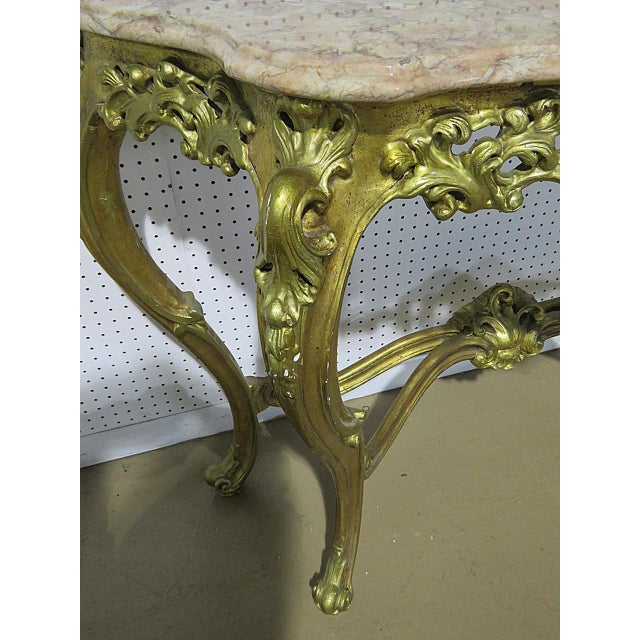Florentine Style Marble Top Console With Mirror For Sale - Image 4 of 12