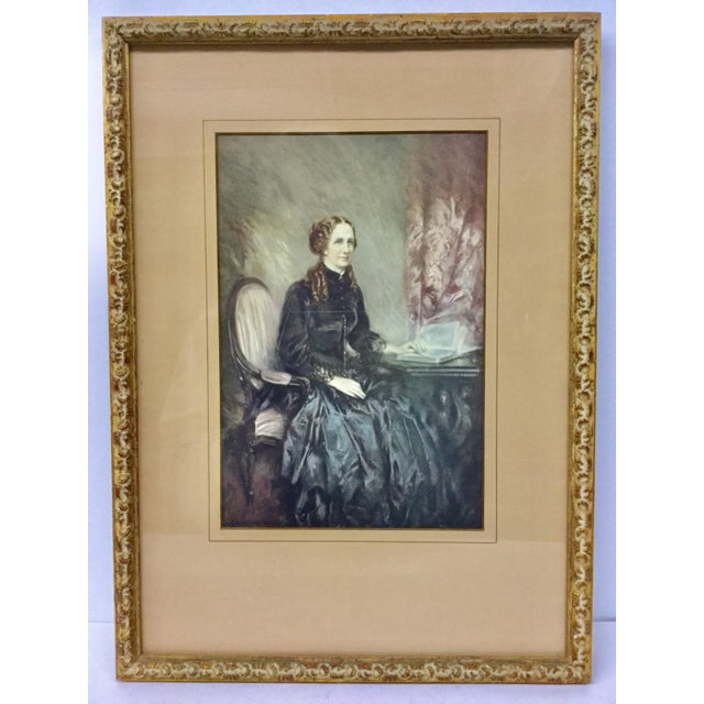 Antique Print of Woman Sitting, Framed For Sale - Image 11 of 11