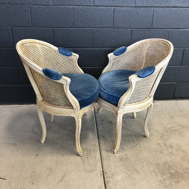 1960s Louis XV Style Barrel Back Caned Bergere Chairs - a Pair For Sale - Image 4 of 12
