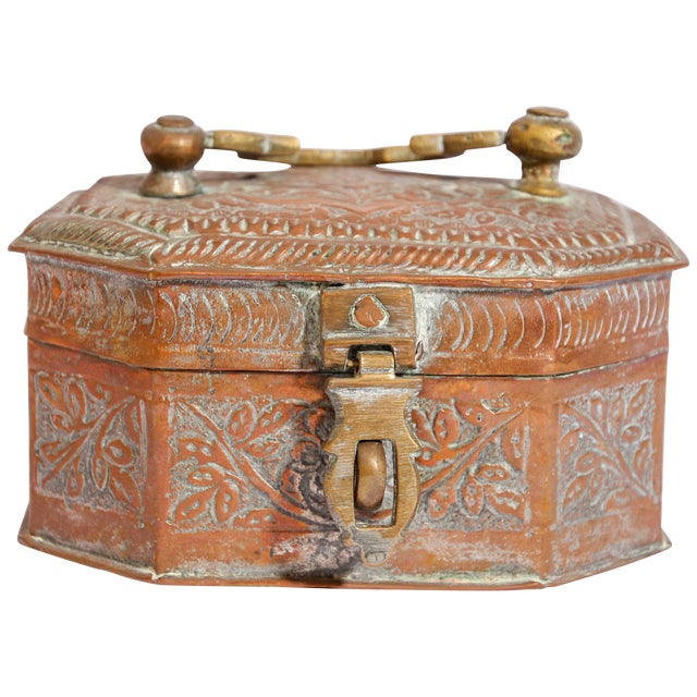 Anglo-Indian Handcrafted Tinned Copper Metal Spices Caddy Box For Sale