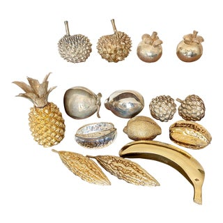 William Comyns Sterling Silver and Gilt Ornamental Fruit Collection - Set of 15 For Sale