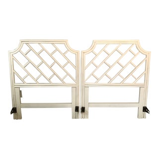 Vintage Mid-Century Twin Bamboo Chippendale Style Headboards - A Pair For Sale