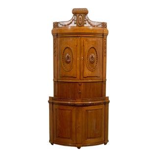 Russian Empire Oak 19th Century Convex Corner Cabinet with Carved Pediment For Sale