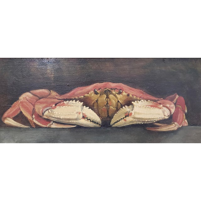 """Original Still Life w/ Crab by E. Holloway Oil on masonite. Dimensions 11"""" x 5"""". The frame measures 14.75"""" x 8.75"""". A fine..."""