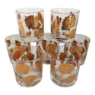 Mid-Century 24 Kt Culver Sea Shells Lo-Ball Glasses -Set of 7 For Sale