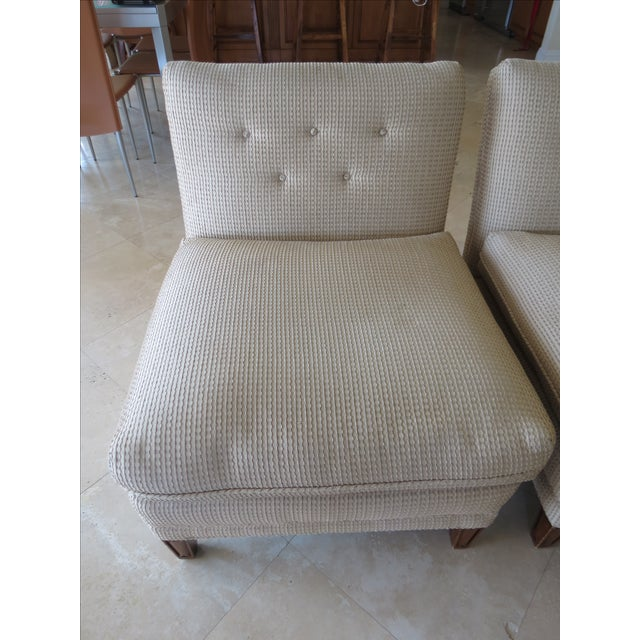 Vintage Mid-Century Twill Accent Chairs - A Pair - Image 3 of 11